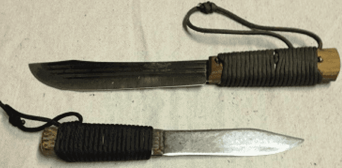 The Old Hickory 7 inch butcher made by Ontario Knife Company and the Green River 5 inch hunter made by Russell Harrington Cutlery