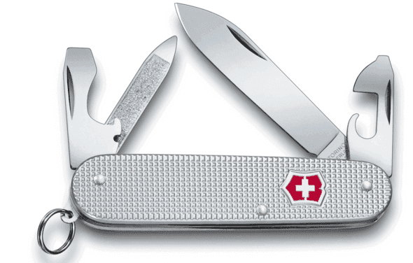 Spear point blade on the Victorinox folding knife.